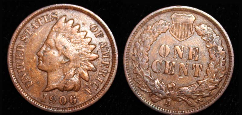 US Indian Head Penny 1906