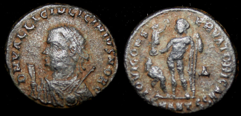Licinius Jr with mappa, globe and sceptre