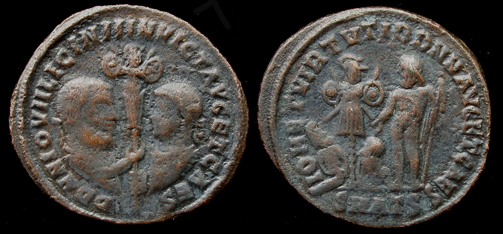 Licinius I and II, Æ Follis, Extremely Rare