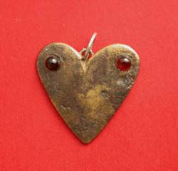 Pendent, Heart with Red Garnets, Ancient Roman Bronze