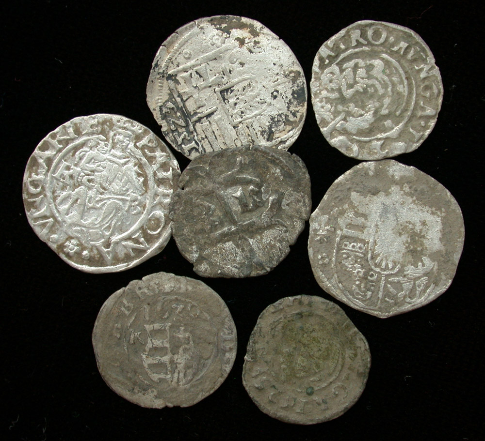 One Lot of 7 Medieval Hungary AR Denars
