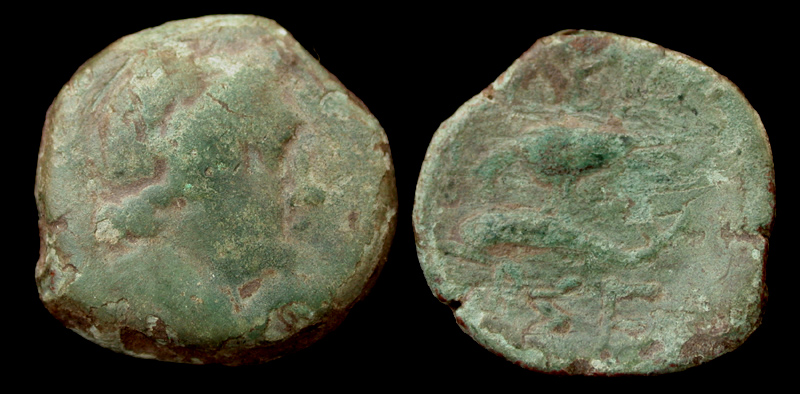 Olbia, Sarmatia city issue, Eagle on Dolphin, c. 180-150 BC.
