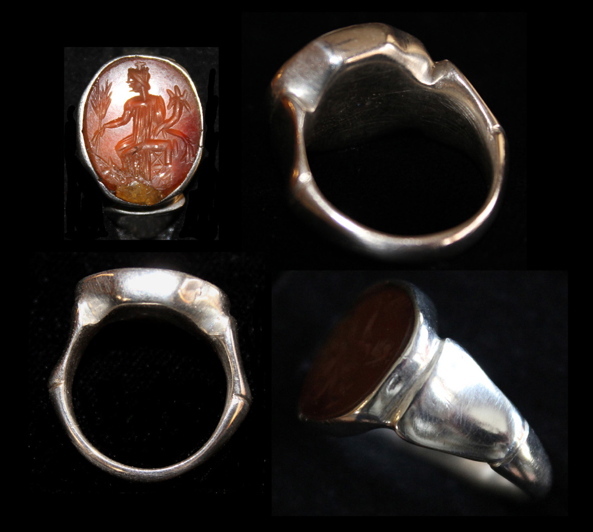 Ring, Roman, Silver with Carnelian Fortuna Intaglio, c. 3rd Cent