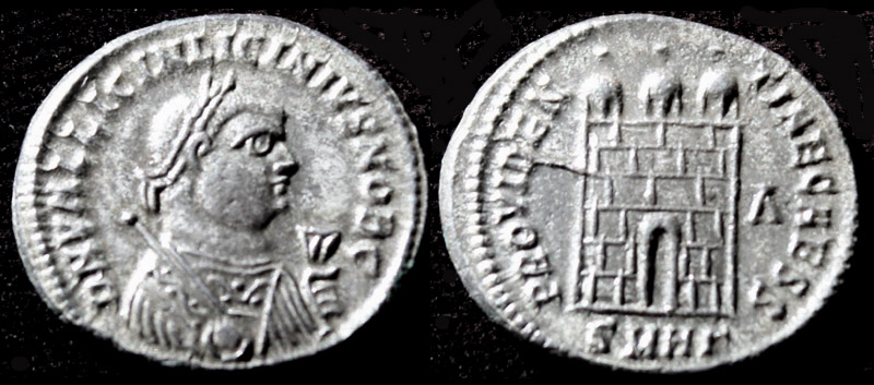 Licinius II, G, M & S Obv, Silvered Campgate, aMS