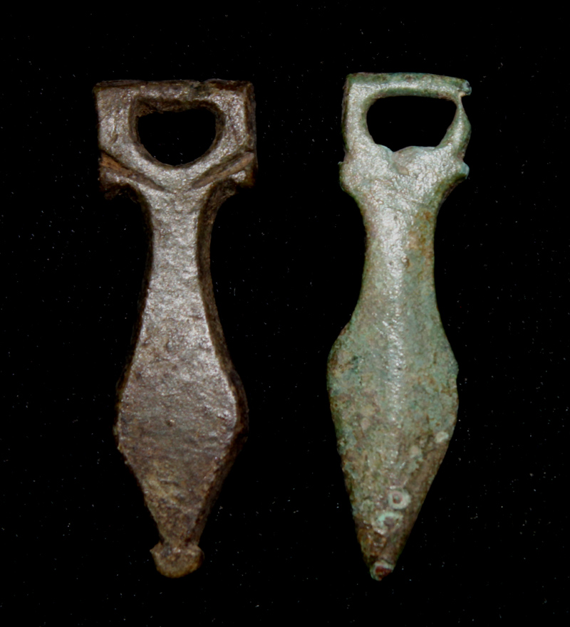 Strap Ends, Classic, Phallic, ca. 1st-2nd Cent. AD