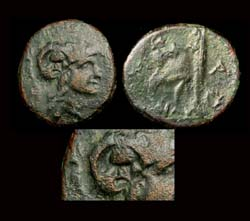 Macedon, King Antigonos Gonatas, Helmet Counter-mark, 329-277 BC