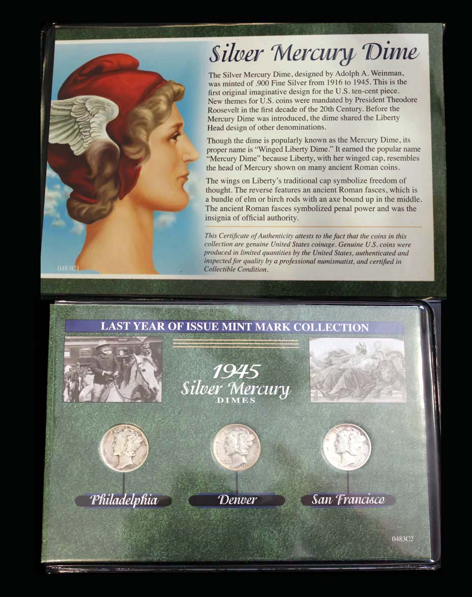 Last Year of Issue Series, Silver Mercury Dime, 1945