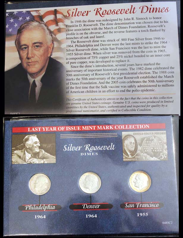 Last Year of Issue Series, Silver Roosevelt Dime, 1955/1964