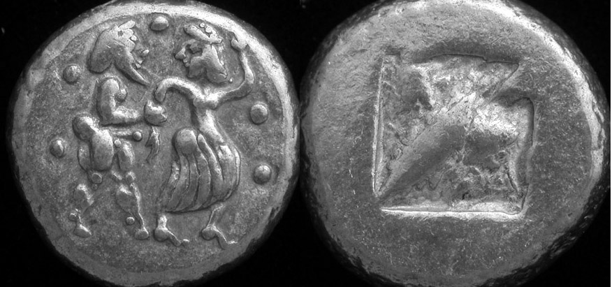 Lete, Macedonia, Stater 540 480 BC Satyr and Nymph