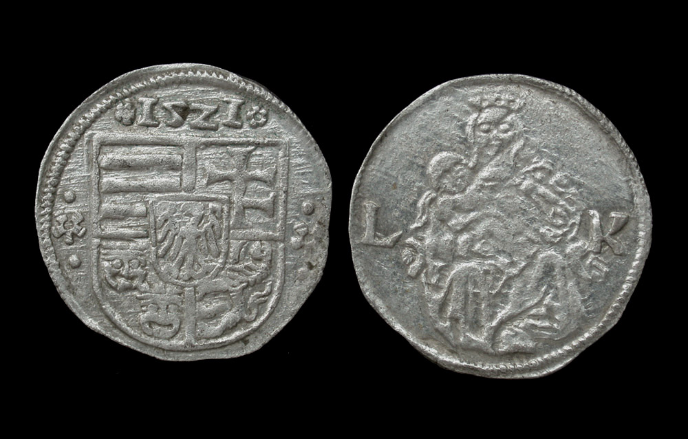 Hungary, Louis II, AR Denar, Madonna & Child