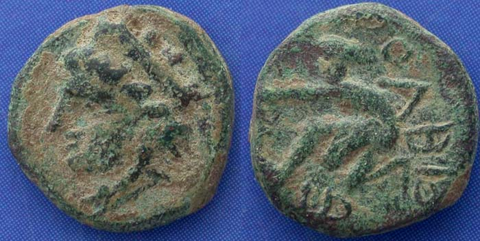 Olbia city issue, Tyche and Bow Shooter, 370-360 BC