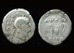 Vespasian AR Denarius, Priestly implements reverse