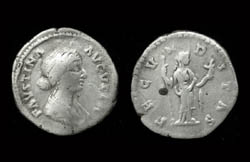 Faustina Junior, Denarius, Fecunditas reverse, One child