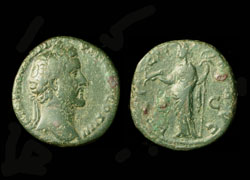 Antoninus Pius, Sestertius, Felicity with Capricorn and Winged Caduceus reverse