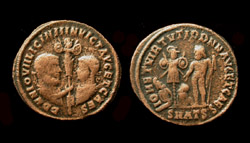 Licinius I and II, Holding trophy obverse, Rare 4