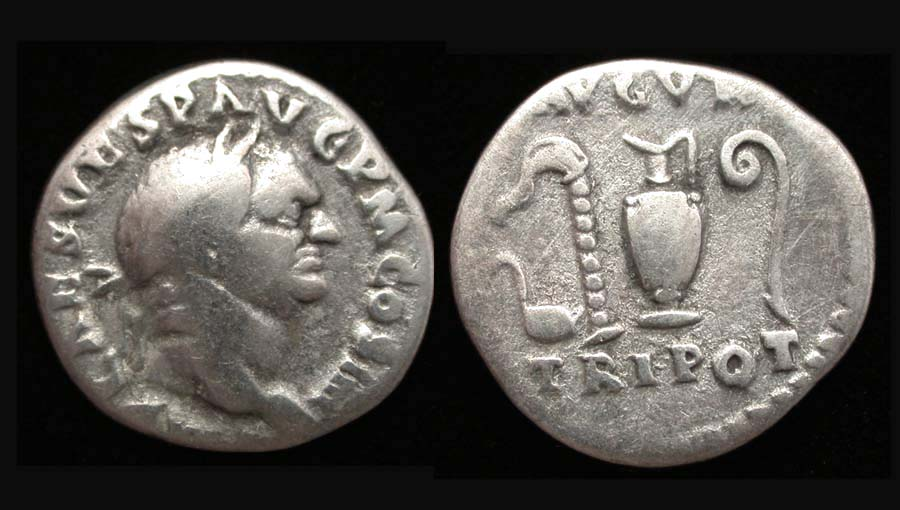 Vespasian AR Denarius, priestly implements reverse.