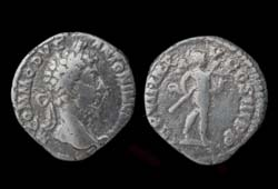 Commodus Denarius, Mars with Trophy