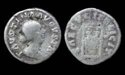 Faustina Junior, Denarius, Twins reverse