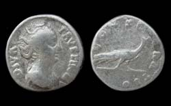 Faustina Senior, Denarius, Memorial Issue, Peacock reverse