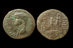 Macedon, Philippi, Claudius I, two statues reverse