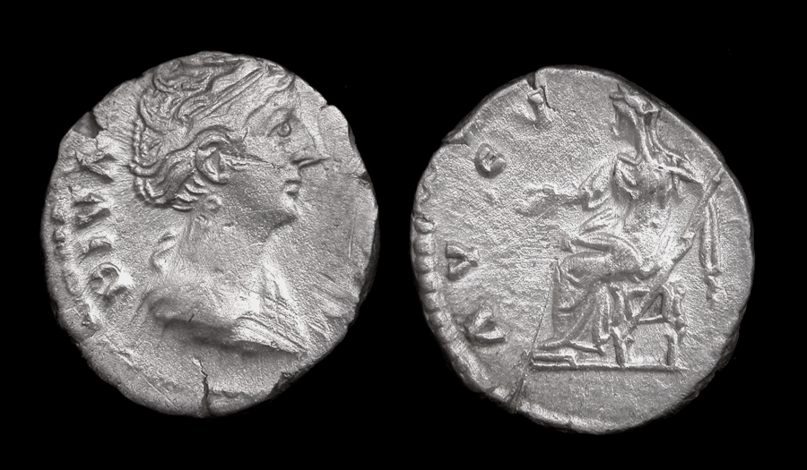 Faustina Denarius Memorial Issue, Vesta Enthroned