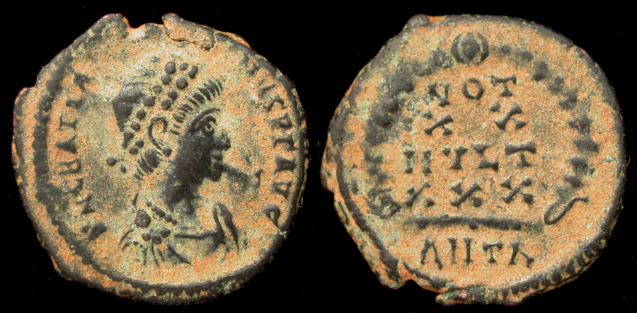 Gratian, Æ4, Votive Issue, Antioch Mint, Rare