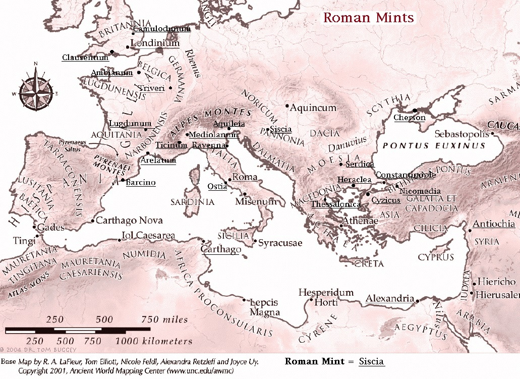 Roman Mint Map, Noble Roman Coins