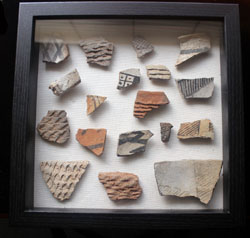 Pueblo Culture, Pottery Sherds, pre-1600, Shadowbox