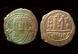 Maurice Tiberias, Æ Follis, Antioch as Theopolis Mint