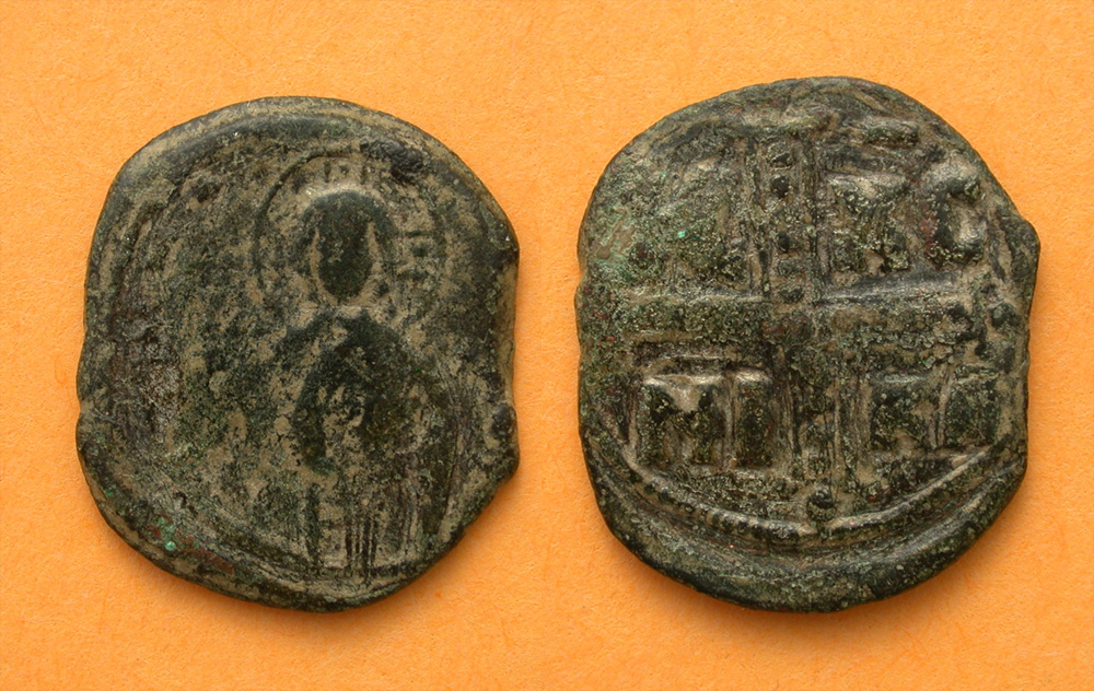 Byzantine Era Follis with Jesus Christ, c. 1034-1041 AD
