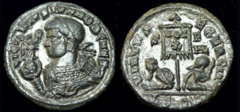 Licinius II (Jr) Victory on Globe Portrait