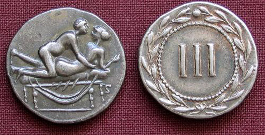 Roman Erotic Spintriae III, Tin Replica