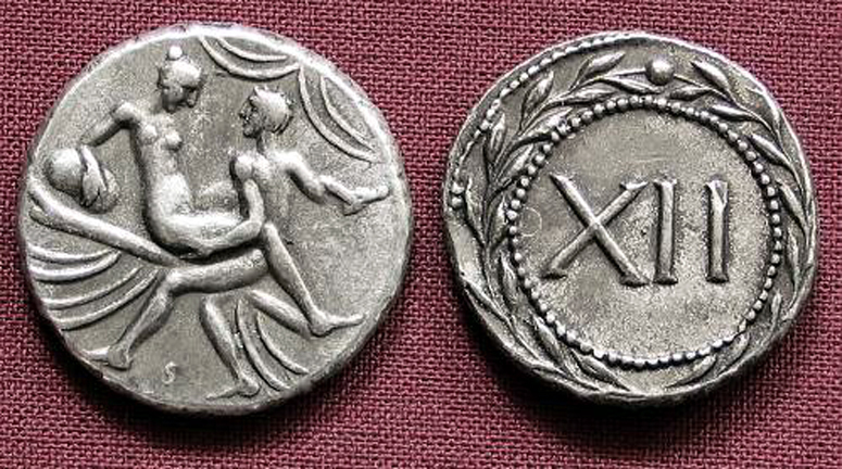 Roman Erotic Spintriae XII, Tin Replica