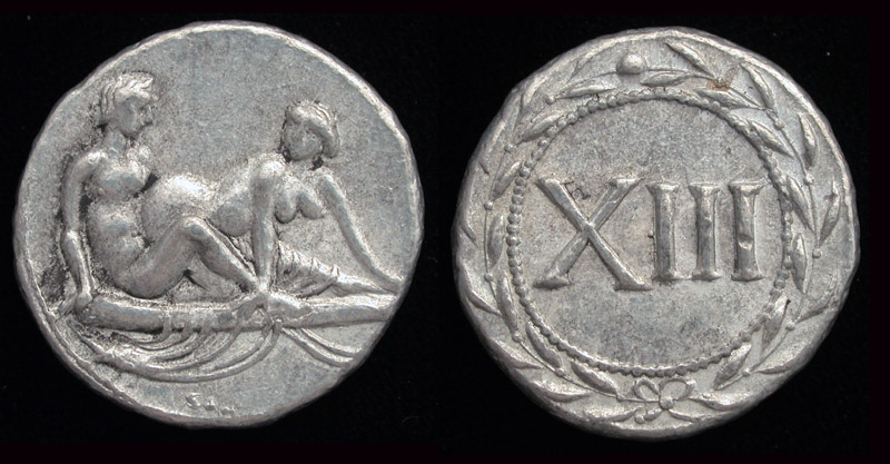 Roman Erotic Spintriae XIII, Tin Replica