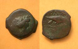 Olbia, Sarmatia city issue, Eagle on Dolphin, 400-370 BC