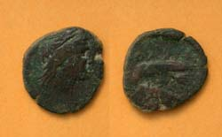 Olbia, Sarmatia city issue, Eagle on Dolphin, c. 400-370 BC